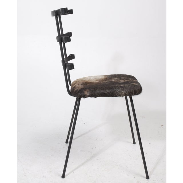 1950s Modernist Iron Side Chair with Cowhide Seat - Image 5 of 7
