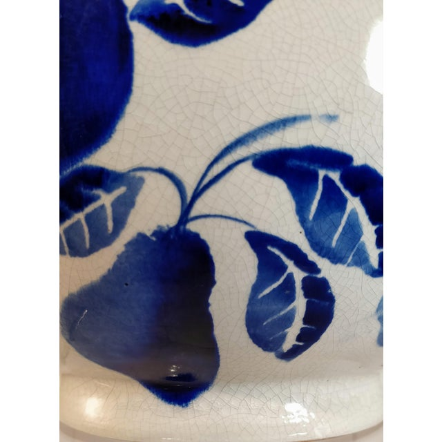 Ceramic Vintage Italian Fruit Bowl Blue White Pottery Mixing Kitchen Italy Ceramic For Sale - Image 7 of 10