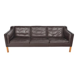 Børge Mogensen Model 2213 Brown Leather Three Seat Sofa For Sale