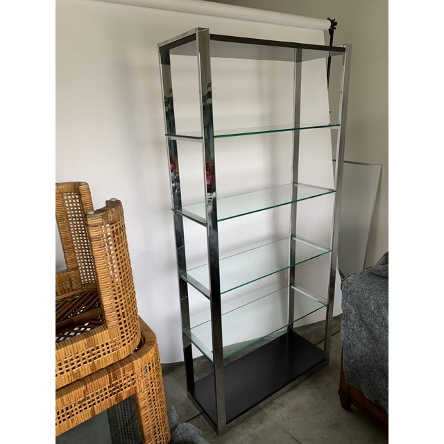 Chrome Chrome Etagere With Glass Shelves For Sale - Image 8 of 8