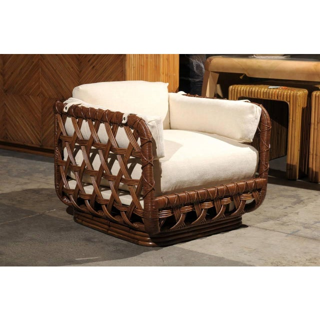 Mid-Century Modern Fantastic Pair of Vintage Rattan Basket Loungers by Danny Ho Fong For Sale - Image 3 of 10