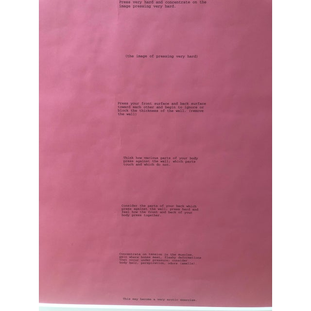 """Bruce Nauman's """"Body Pressure"""" poster from the Dia: Beacon Art Foundation in 1974 offers text instructions for a person to..."""