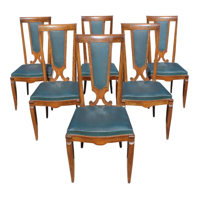 1940s French Art Deco Solid Mahogany Dining Chairs by Jules Leleu - Set of 6 For Sale