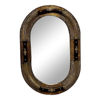 Moroccan Aged Brass and Wood Oval Mirror For Sale