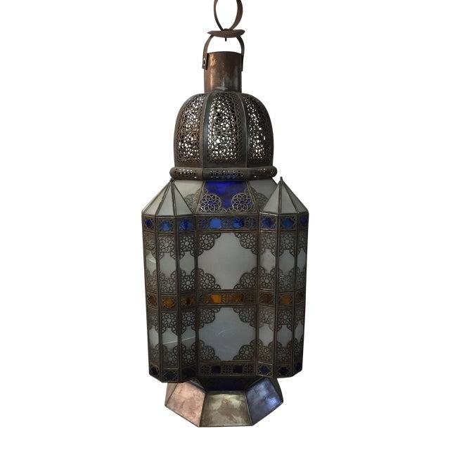 Moroccan Color Glass Lantern For Sale