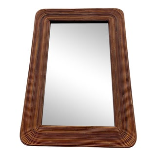 Late 20th Century Pencil Reed Rattan Wall Mirror For Sale