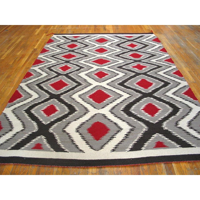 Contemporary Gray & Black Navajo Style Wool Rug - 6′ × 9′ For Sale - Image 3 of 4