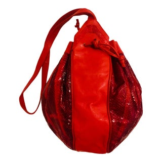 1980s Red Snakeskin and Leather Duffle Purse For Sale