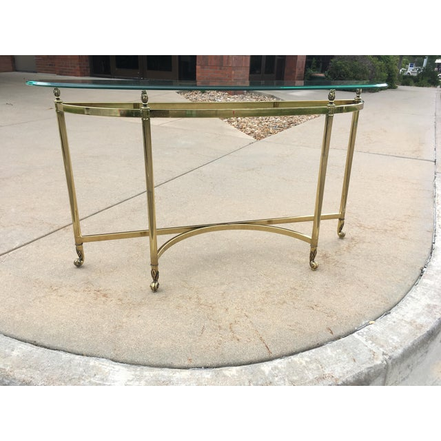 Mid-Century Labarge Brass & Glass Demi-Lune Console Table For Sale - Image 10 of 13