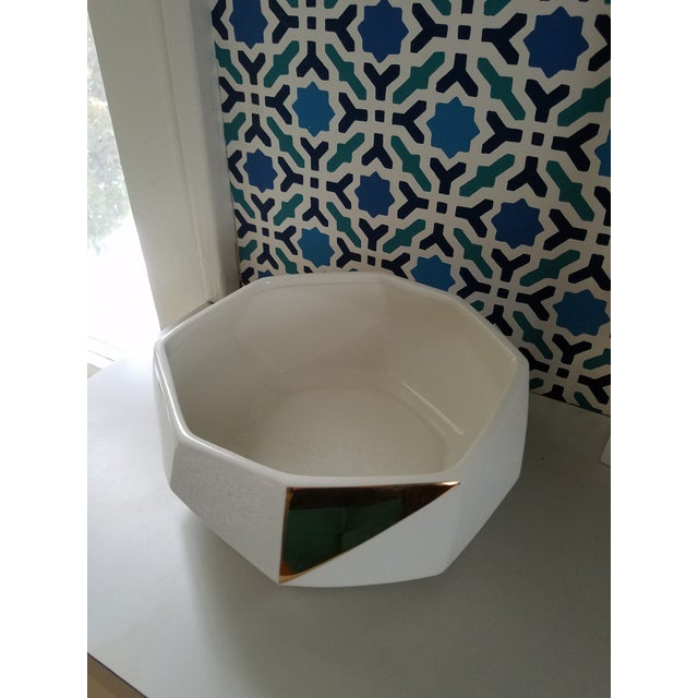 White & Gold Faceted Bowl - Image 3 of 5