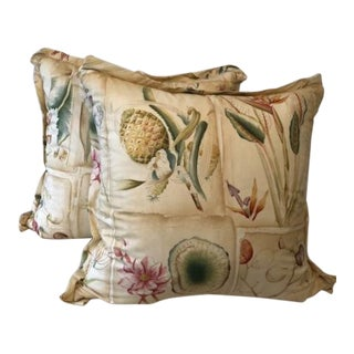 Clarence House Botanical Fabric Square Pillows - a Pair For Sale