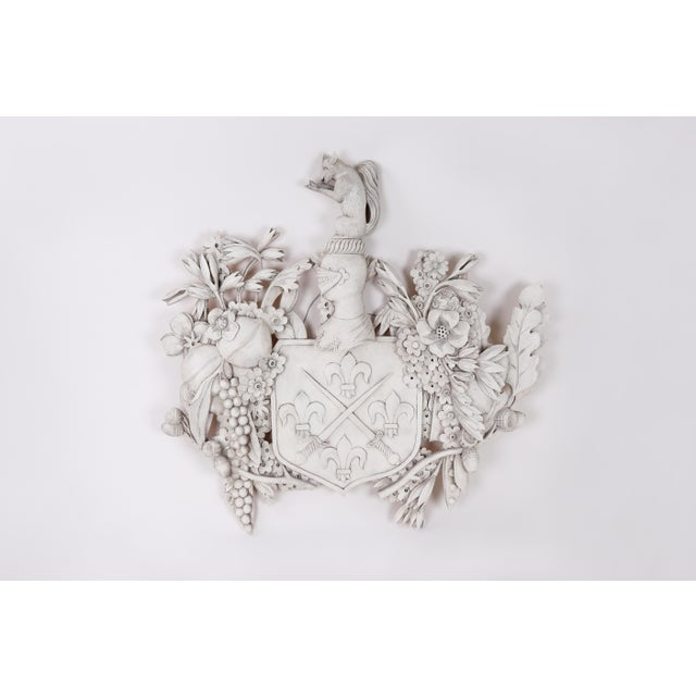 White Wood Carved Family Crest For Sale In New York - Image 6 of 6