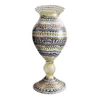 Vintage Maestro Imperio Rossi Murano Millefiori Art Glass Vase For Sale