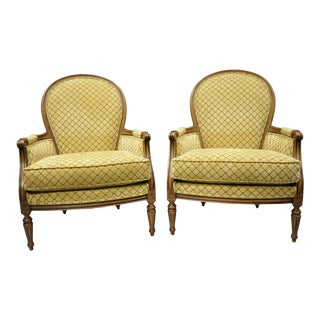 Ethan Allen French Provincial Louis XVI Country Bergere Arm Chairs - a Pair For Sale
