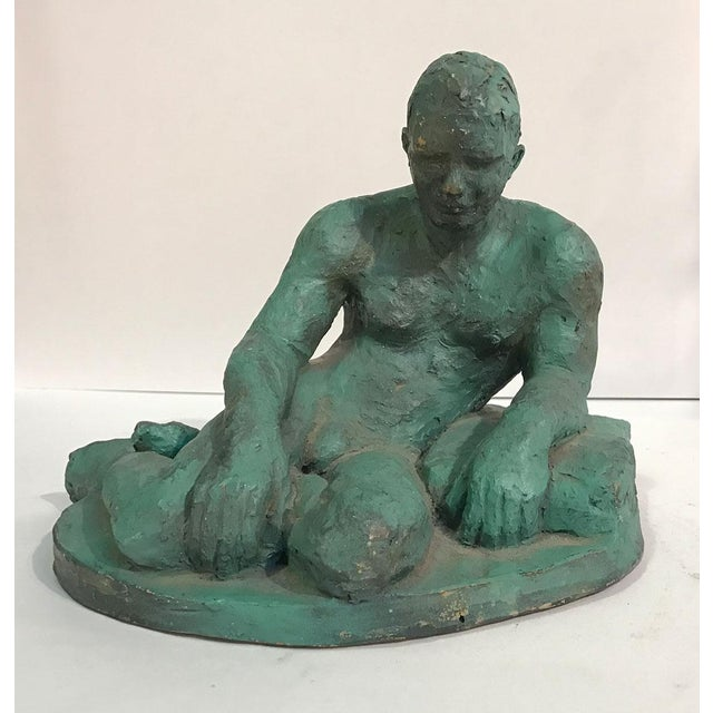 Clay Sculpture of a Seated / Reclining Nude Male, 1937 For Sale - Image 4 of 10