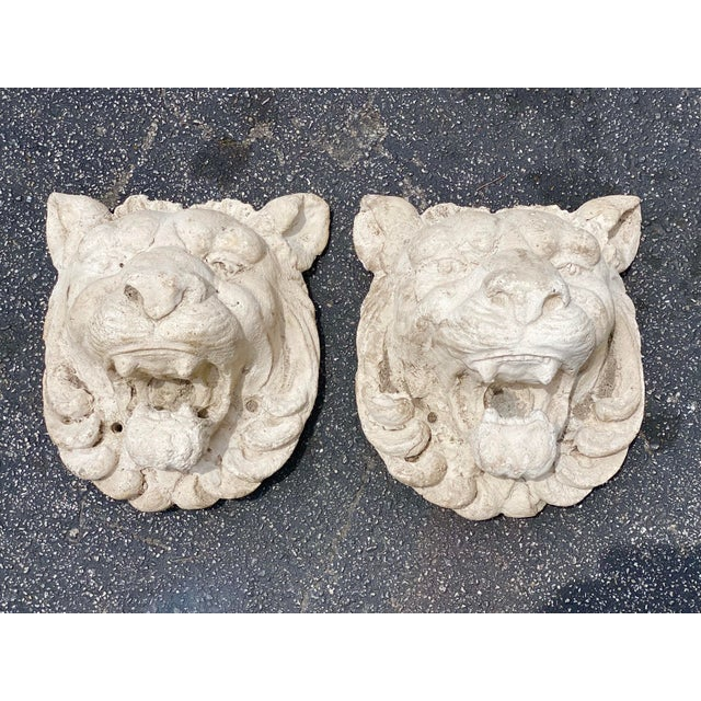 Mid 20th Century Vintage Pair of Cast Stone Lion Heads For Sale - Image 5 of 6