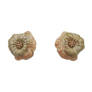 Monet Enamel Pansy Flower Earrings, 1985 For Sale