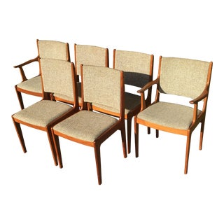 Mid Century Danish Modern Solid Teak Dining Chairs - Set of 6 For Sale