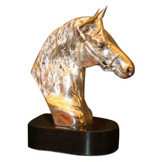 Cast Brass Horse Head with Silver Plating on Marble