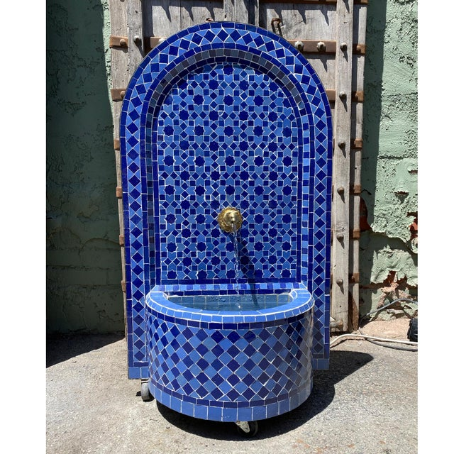 Blue Moroccan Arch Tile Fountain For Sale - Image 4 of 7