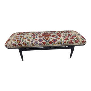 Antique Suzani Upholstered Bench For Sale