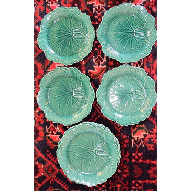1950s English Traditional Wedgwood Majolica Plates - Set of 5 For Sale In Houston - Image 6 of 9