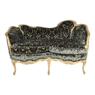 Antique French Settee in Velvet