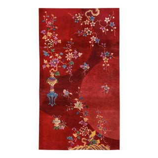 "1920s Antique Art Deco Chinese Rug- 4'0"" X 6'8"" For Sale"