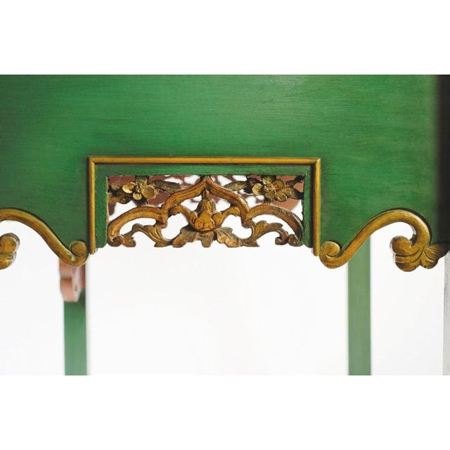 Wood Emerald Green Chinese Cabinet Inset With Gilt Antique Panels For Sale - Image 7 of 11