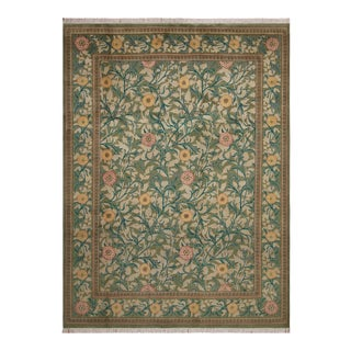 "William Morris Pak-Persian Jasmine Green Pink Wool Rug - 9'1"" x 12'3"""