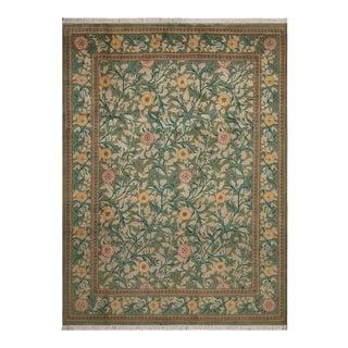 "William Morris Pak-Persian Jasmine Green Pink Wool Rug - 9'1"" x 12'3"" For Sale"