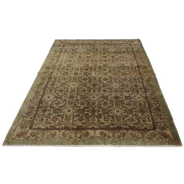 51702 Distressed Vintage Turkish Oushak Rug with Worn-In Rustic Aesthetic. This hand-knotted wool distressed vintage...