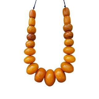 Vintage Chunky Amber Necklace For Sale