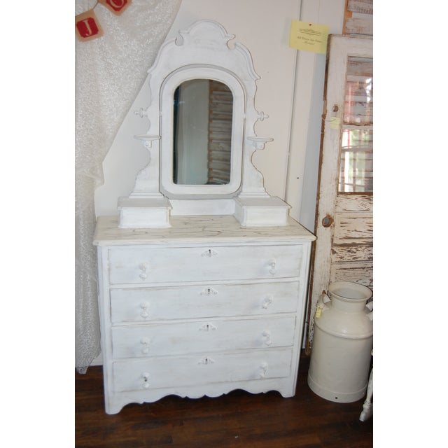Vintage Shabby Chic White Dresser With Mirror - Image 3 of 11