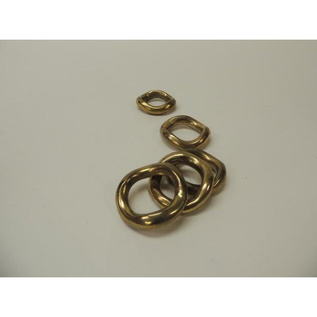 Ralph Lauren Set of 5 Solid Brass Ralph Lauren Ribbon Napkin Holders For Sale - Image 4 of 6