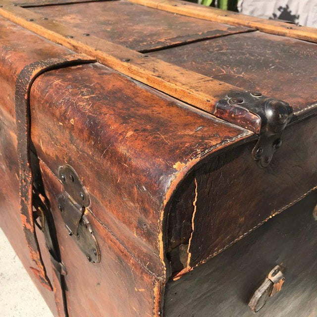 Animal Skin Antique Leather and Wood Trunk, Circa 1890 For Sale - Image 7 of 12