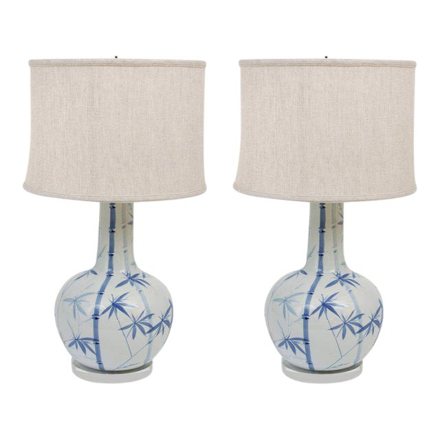 Pair of Blue and White Ceramic Lamps - Image 1 of 4