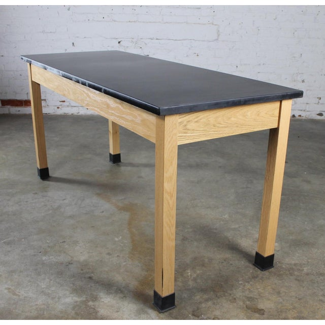 Arts & Crafts Industrial Laboratory Table, Oak With Black Epoxy For Sale - Image 3 of 12