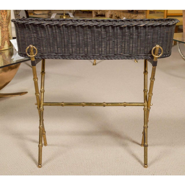 Jacques Adnet Jacques Adnet Wicker Planter With Gilt Brass Bamboo Base For Sale - Image 4 of 7