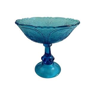 Swedish Blue Glass Pedestal Bowl