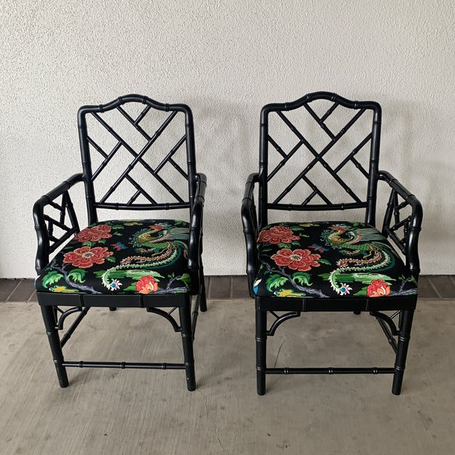 Pair of black bamboo chairs. Recovered do these scream Palm Springs or what?!?