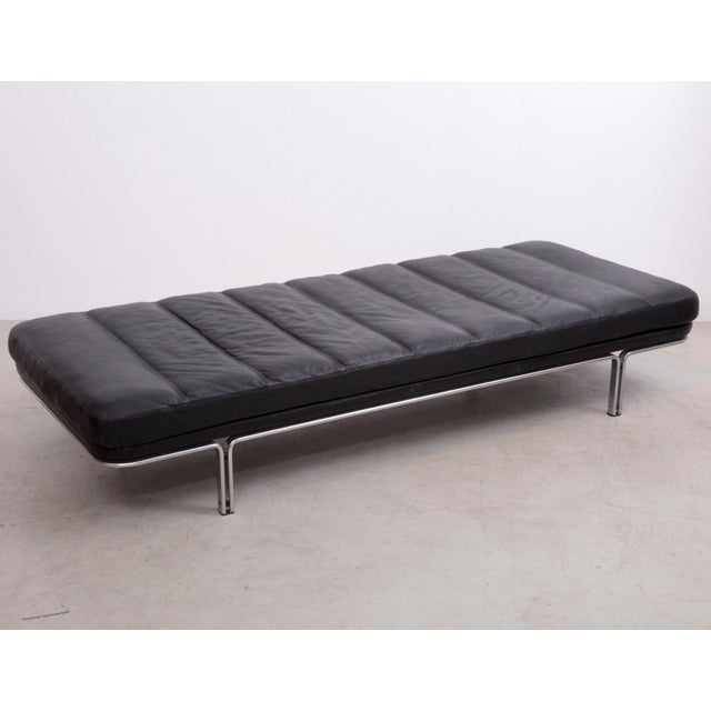 Horst Bruning Daybed in Original Black Leather and Chrome for Kill International For Sale - Image 6 of 6