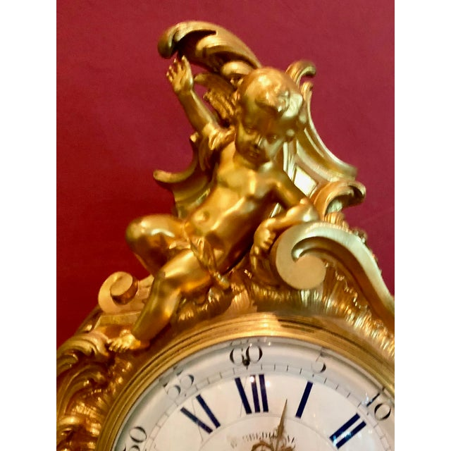 This spectacular , gilt ( molten 22k gold ) bronze mantel clock was expertly crafted by the celebrated French bronzeur...