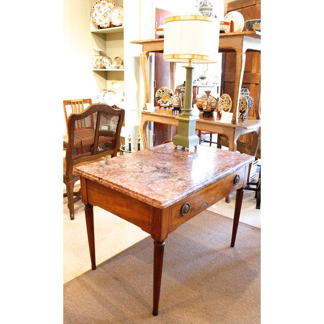 Italian 18th Century Italian Neoclassical Inlaid Marble Top Console For Sale - Image 3 of 10