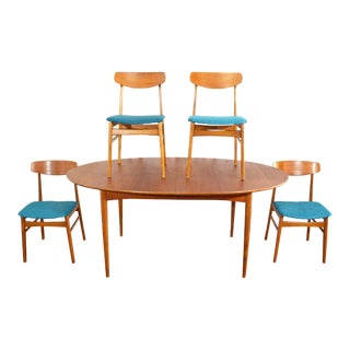 Mid Century Danish Teak Dining Set / Table and 4 Chairs
