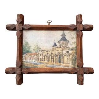 1920s Italian Villa Miniature Oil Painting, Framed For Sale