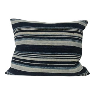 """Vintage African Indigo Striped Pillow - 19"""" X 22"""" For Sale"""