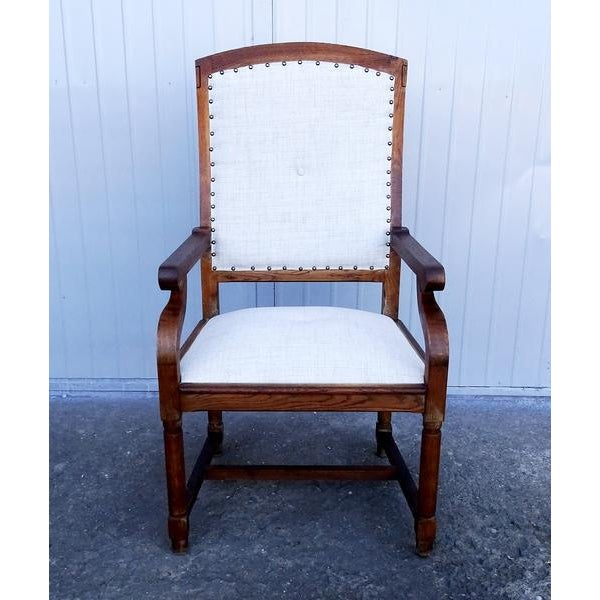 French Louis XIII Style Restored Reupholstered Walnut Throne Armchair For Sale - Image 9 of 9