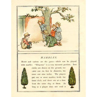 Vintage Children's Game Print by Kate Greenaway, Marbles For Sale