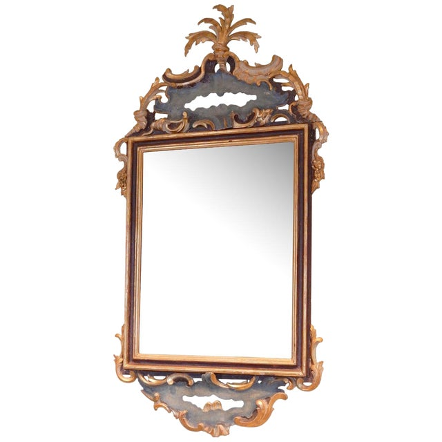 Early 19th Century Italian Rococo Painted and Gilt Mirror For Sale